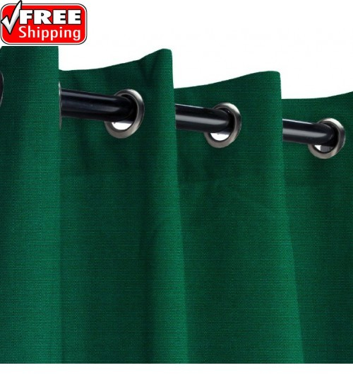 Sunbrella Outdoor Curtain with Nickel Grommets - Forest Green